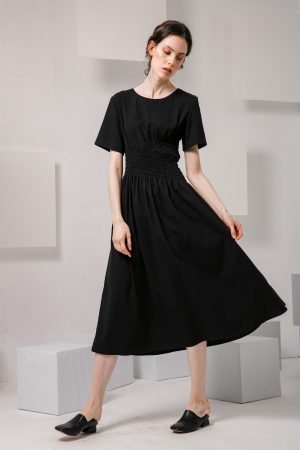 SKYE SF modern minimalist women clothing fashion Loire Dress Black 5