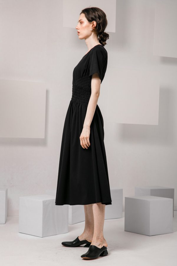 SKYE SF modern minimalist women clothing fashion Loire Dress Black 6