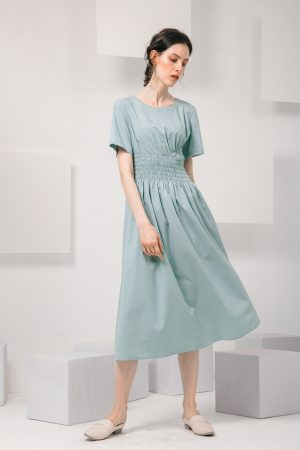 SKYE SF modern minimalist women clothing fashion Loire Dress Green 5