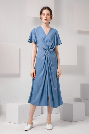 SKYE modern minimalist women clothing fashion Calla Dress blue