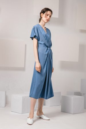 SKYE modern minimalist women clothing fashion Calla Dress blue 5