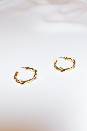 SKYE modern minimalist women fashion accessories Orion 16K Gold Hoops 2