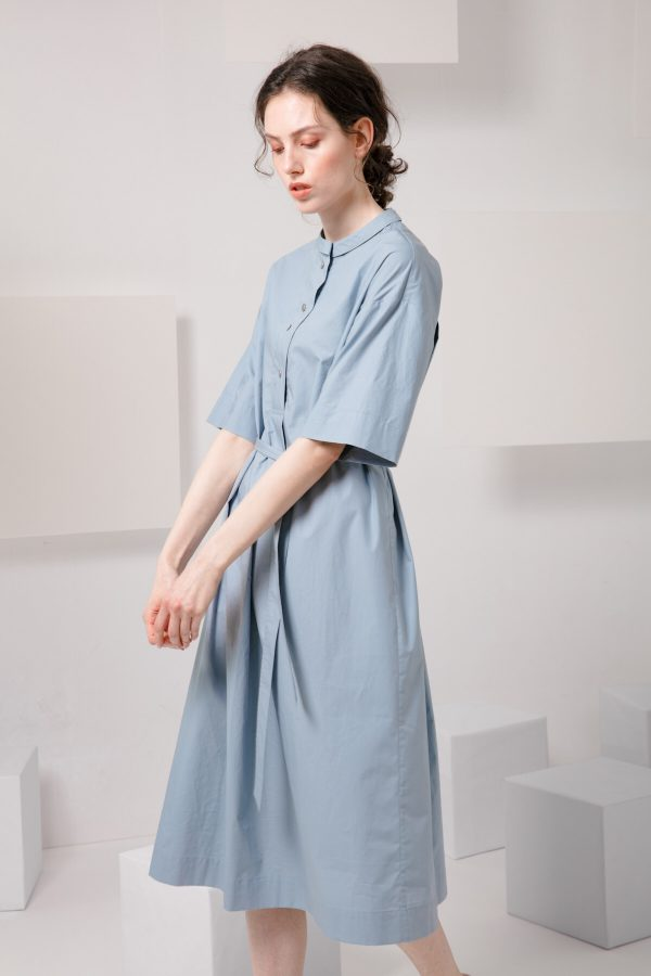 SKYE SF modern minimalist women clothing fashion Essi Shirt Dress light blue 3