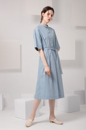 SKYE SF modern minimalist women clothing fashion Essi Shirt Dress light blue 4