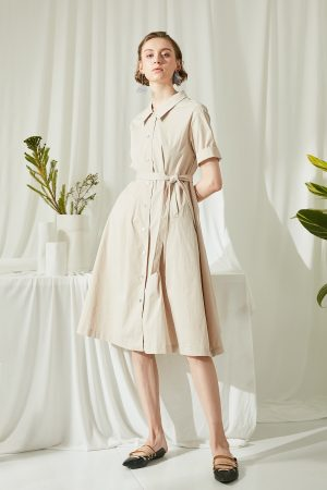 SKYE SF modern minimalist women clothing fashion Etienne Shirt Dress light beige