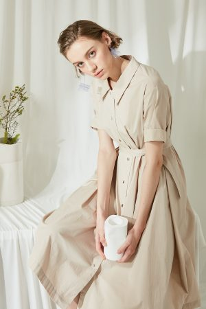 SKYE SF modern minimalist women clothing fashion Etienne Shirt Dress light beige 6