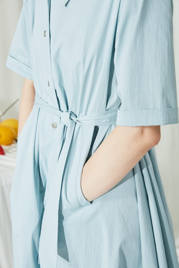 SKYE SF modern minimalist women clothing fashion Etienne Shirt Dress light blue 4