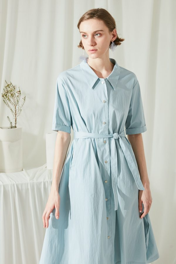 SKYE SF modern minimalist women clothing fashion Etienne Shirt Dress light blue 5