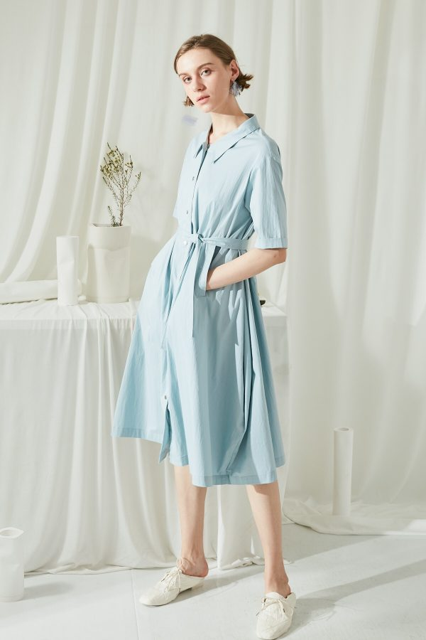 SKYE SF modern minimalist women clothing fashion Etienne Shirt Dress light blue 6