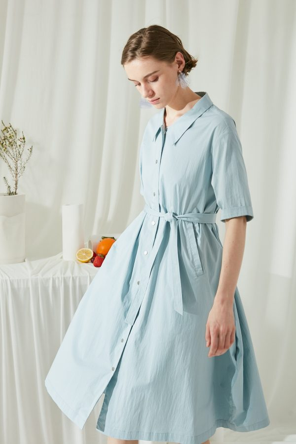 SKYE SF modern minimalist women clothing fashion Etienne Shirt Dress light blue