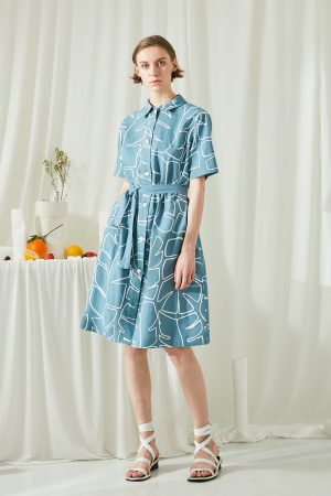 SKYE San Francisco SF ethical modern minimalist quality women clothing fashion Jaqueline Linen Cotton Shirt Dress blue 4
