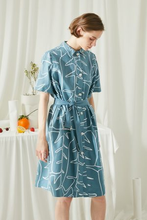 SKYE San Francisco SF ethical modern minimalist quality women clothing fashion Jaqueline Linen Cotton Shirt Dress blue 5