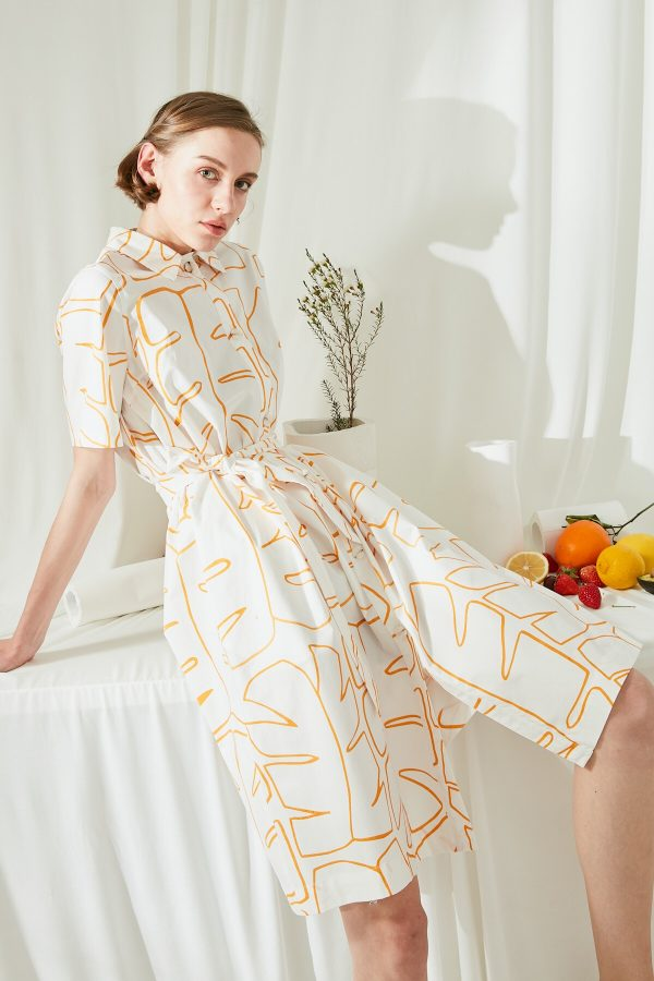 SKYE San Francisco SF ethical modern minimalist quality women clothing fashion Jaqueline Linen Cotton Shirt Dress orange 5