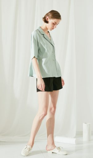 SKYE San Francisco SF modern minimalist quality women clothing fashion Eleni Top Light Green 3