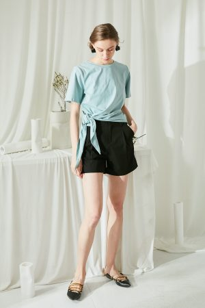 SKYE San Francisco SF ethical modern minimalist quality women clothing fashion Eloise Side Tie Cotton Top green