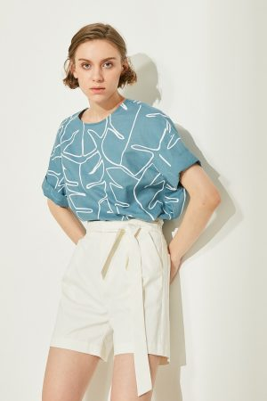 SKYE San Francisco SF ethical modern minimalist quality women clothing fashion Jayla Hand Drawn Print Top blue 5