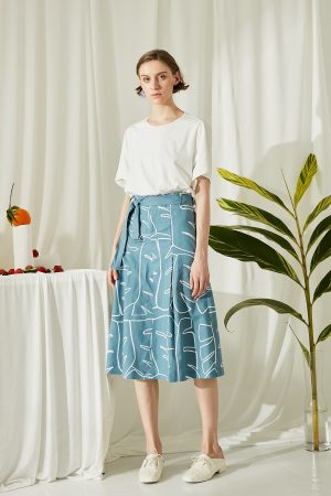 SKYE San Francisco SF ethical modern minimalist quality women clothing fashion Jolee Hand Drawn Print Midi Skirt blue 2