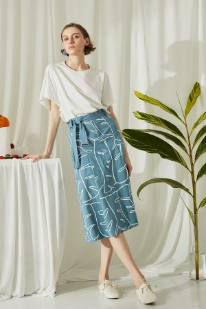 SKYE San Francisco SF ethical modern minimalist quality women clothing fashion Jolee Hand Drawn Print Midi Skirt blue