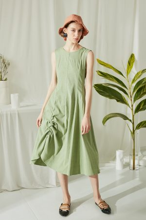 SKYE San Francisco SF ethical modern minimalist quality women clothing fashion Juliette Drawstring Dress green 2