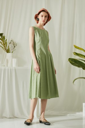 SKYE San Francisco SF ethical modern minimalist quality women clothing fashion Juliette Drawstring Dress green 5
