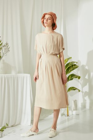 SKYE San Francisco SF ethical modern minimalist quality women clothing fashion Melody Pleated Dress beige