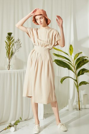 SKYE San Francisco SF ethical modern minimalist quality women clothing fashion Melody Pleated Dress beige 6