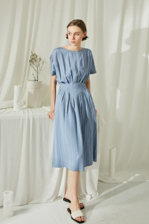 SKYE San Francisco SF ethical modern minimalist quality women clothing fashion Melody Pleated Dress blue 4