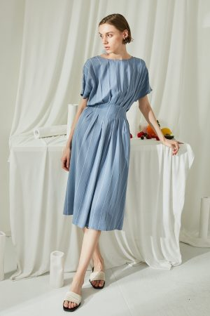 SKYE San Francisco SF ethical modern minimalist quality women clothing fashion Melody Pleated Dress blue 5