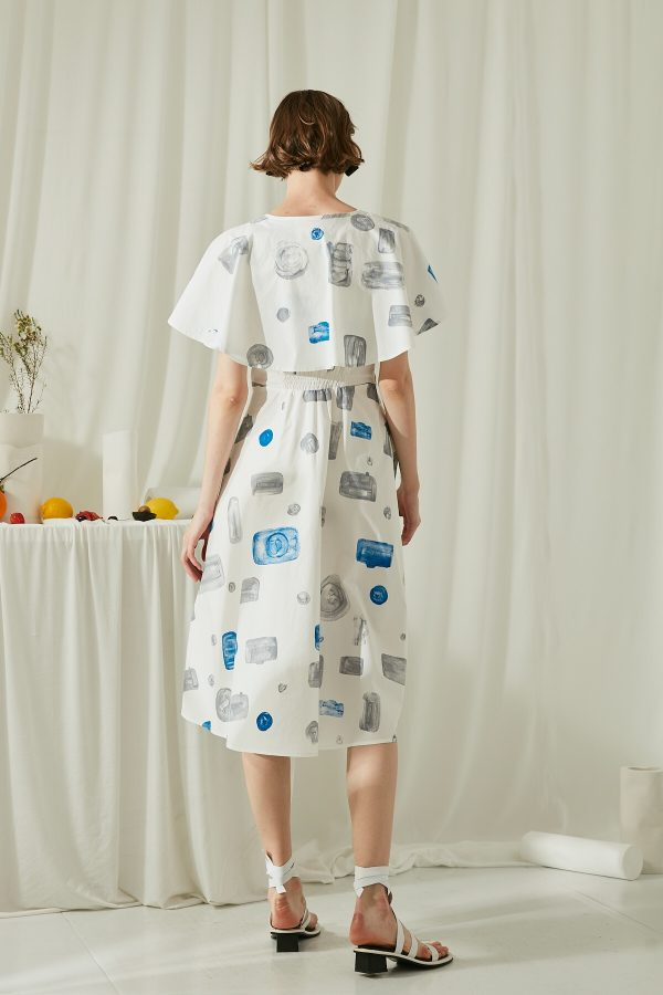 SKYE San Francisco SF ethical modern minimalist quality women clothing fashion Miranda Hand Drawn Print Dress blue 2