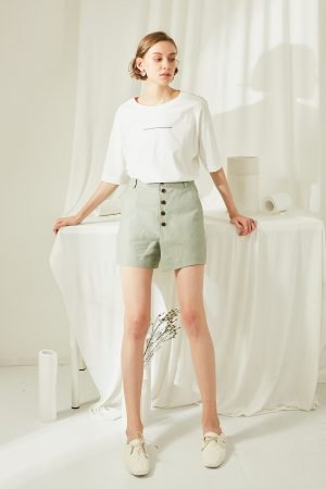 SKYE San Francisco SF ethical modern minimalist quality women clothing fashion Rylie Buttoned Shorts green 6