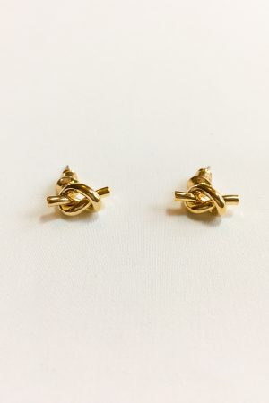 SKYE modern minimalist women fashion accessories Noe 18K Gold Knot Earrings 3
