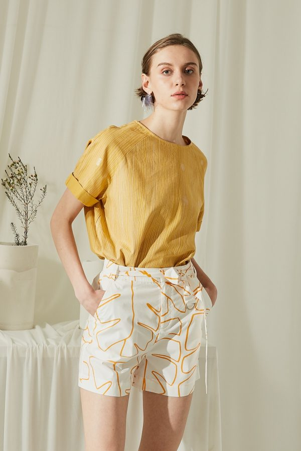 SKYE San Francisco SF shop ethical modern minimalist quality women clothing fashion ss19 Elsie Hand Drawn Print Shorts Orange 5