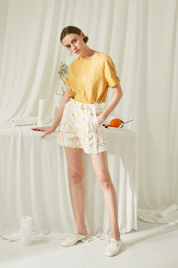 SKYE San Francisco SF shop ethical modern minimalist quality women clothing fashion ss19 Elsie Hand Drawn Print Shorts Orange
