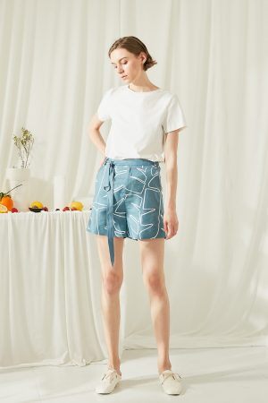 SKYE San Francisco SF shop ethical modern minimalist quality women clothing fashion ss19 Elsie Hand Drawn Print Shorts blue 2