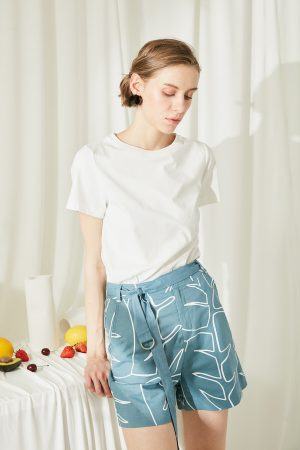 SKYE San Francisco SF shop ethical modern minimalist quality women clothing fashion ss19 Elsie Hand Drawn Print Shorts blue 4