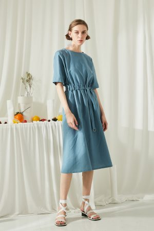 SKYE San Francisco SF shop ethical modern minimalist quality women clothing fashion ss19 Zoey Shirt Dress blue 3