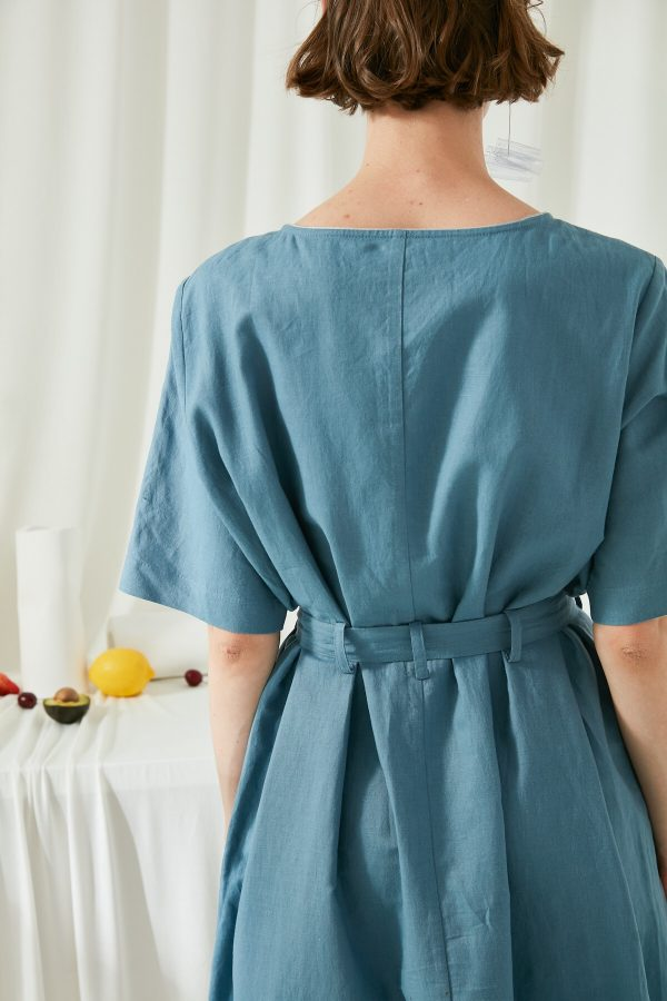 SKYE San Francisco SF shop ethical modern minimalist quality women clothing fashion ss19 Zoey Shirt Dress blue 5