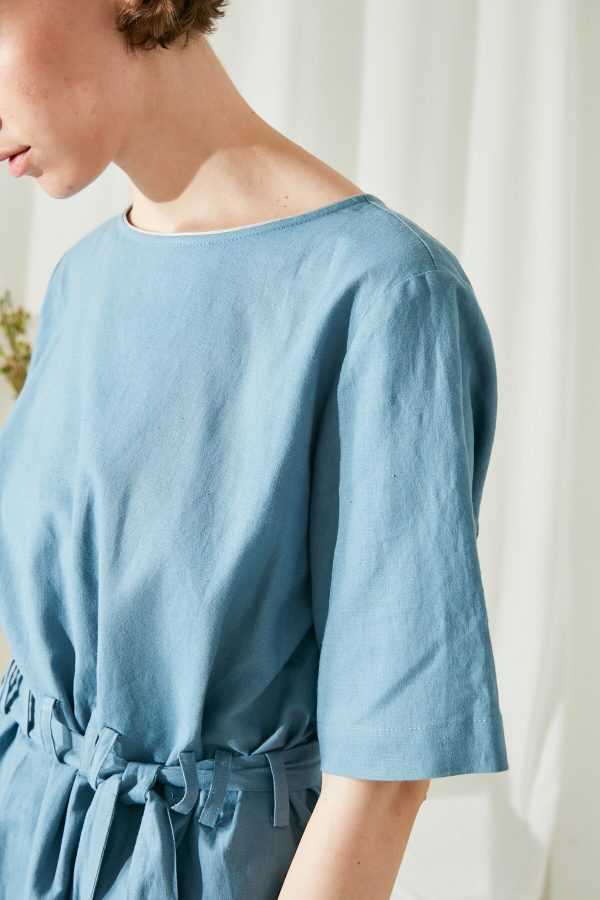 SKYE San Francisco SF shop ethical modern minimalist quality women clothing fashion ss19 Zoey Shirt Dress blue 6