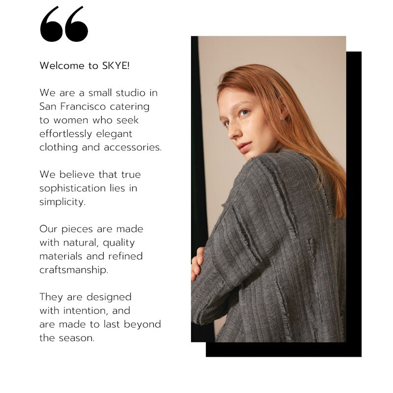 SKYE SAN FRANCISCO SF modern minimalist luxury women clothing fashion welcome to skye 3