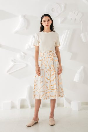 SKYE San Francisco SF ethical modern minimalist quality women clothing fashion Jolee Hand Drawn Print Midi Skirt orange 2