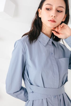 SKYE San Francisco SF shop ethical modern minimalist quality women clothing fashion Colette Shirt Dress blue 2
