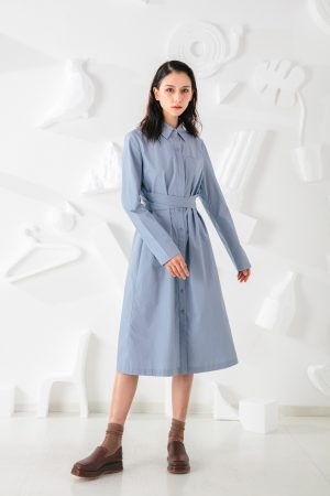 SKYE San Francisco SF shop ethical modern minimalist quality women clothing fashion Colette Shirt Dress blue 6