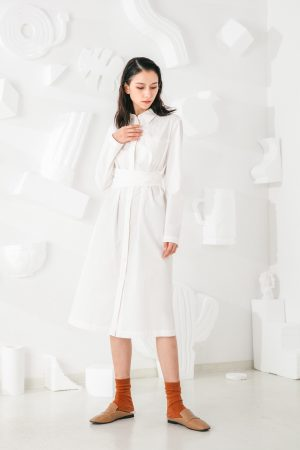 SKYE San Francisco SF shop ethical modern minimalist quality women clothing fashion Colette Shirt Dress white 3