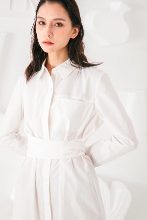 SKYE San Francisco SF shop ethical modern minimalist quality women clothing fashion Colette Shirt Dress white 4