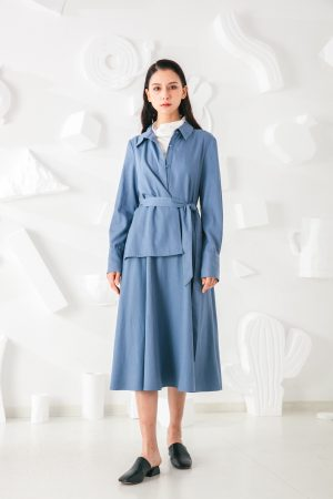 SKYE San Francisco SF shop ethical modern minimalist quality women clothing fashion Coralie Dress blue 3