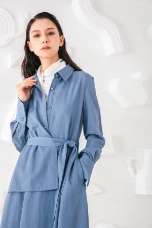 SKYE San Francisco SF shop ethical modern minimalist quality women clothing fashion Coralie Dress blue 4