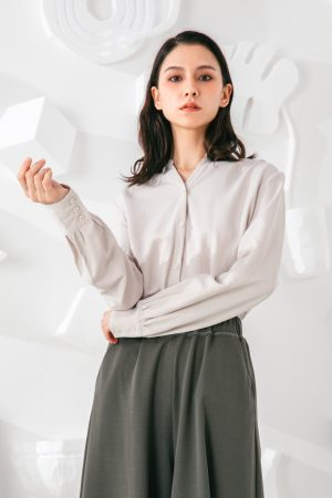 SKYE San Francisco SF shop ethical modern minimalist quality women clothing fashion Eléonore Blouse light grey