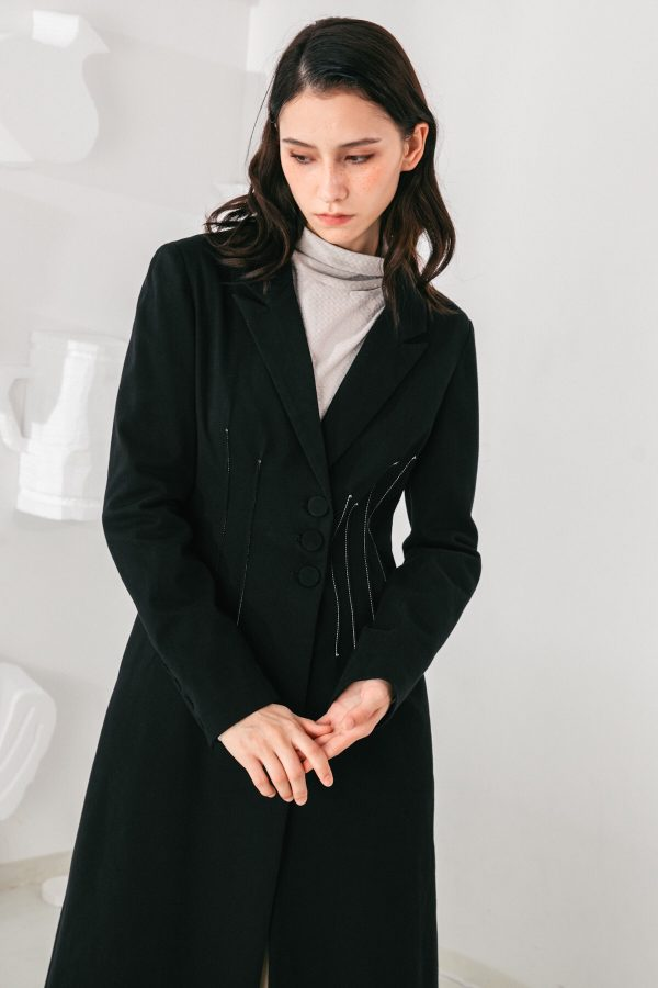 SKYE San Francisco SF shop ethical modern minimalist quality women clothing fashion Laurent Coat black 2