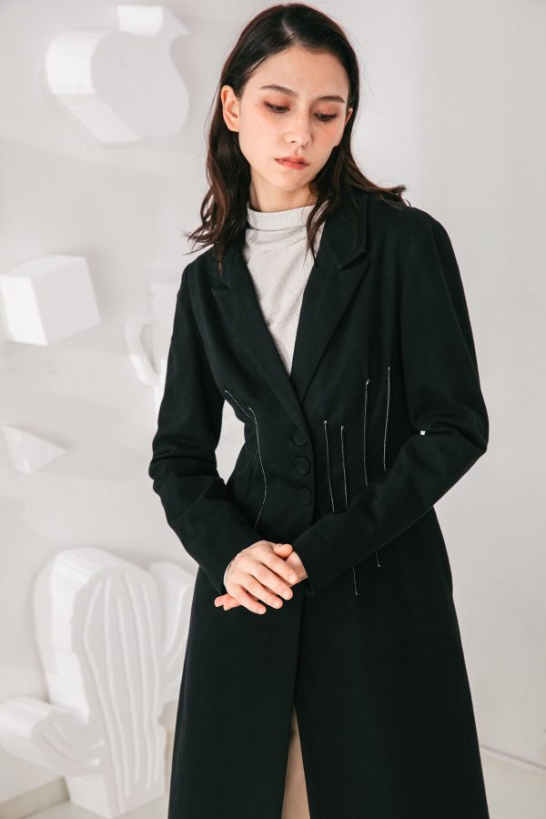 SKYE San Francisco SF shop ethical modern minimalist quality women clothing fashion Laurent Coat black 4