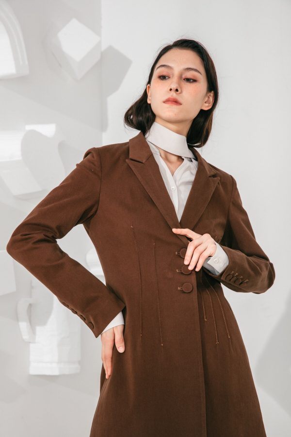 SKYE San Francisco SF shop ethical modern minimalist quality women clothing fashion Laurent Coat brown 3